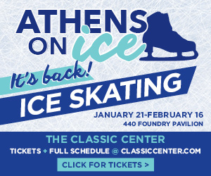 Text in image: Athens Ice Skating at the Classic Center